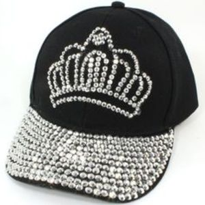 CROWN Rhinestones Crystal Embellished Black Cap